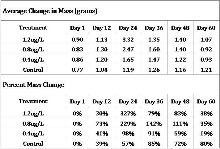 Table 1: Average Mass Change by Treatment (grams), Percent Mass Change by Treatment